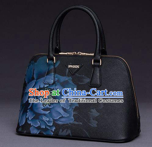 Traditional Handmade Asian Chinese Element Printing Peony Shoulder Bags National Black Handbag for Women