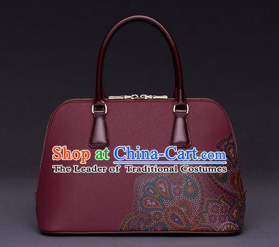 Traditional Handmade Asian Chinese Element Printing Peony Shoulder Bags National Red Handbag for Women