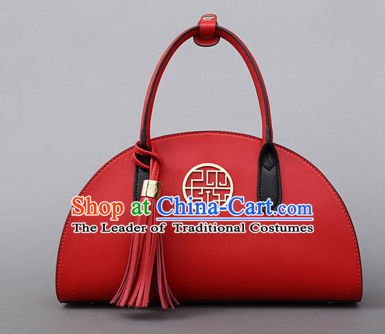 Traditional Handmade Asian Chinese Element Shoulder Bags National Bride Wedding Red Handbag for Women