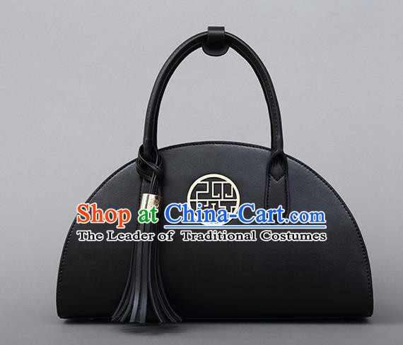 Traditional Handmade Asian Chinese Element Shoulder Bags National Bride Wedding Black Full Dress Handbag for Women