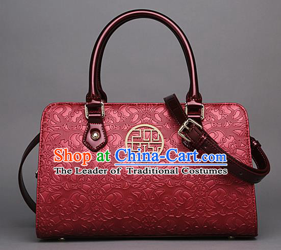 Traditional Handmade Asian Chinese Element Knurling Clutch Bags Shoulder Bag National Red Handbag for Women