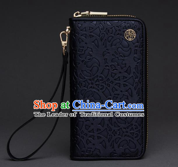 Traditional Handmade Asian Chinese Element Knurling Wallet National Handbag Black Purse for Women
