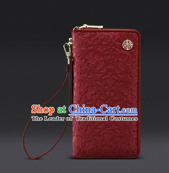 Traditional Handmade Asian Chinese Element Knurling Wallet National Handbag Red Purse for Women
