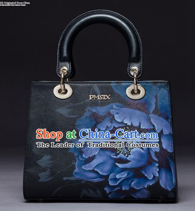 Traditional Handmade Asian Chinese Element Painting Peony Square Clutch Bags National Black Handbag for Women