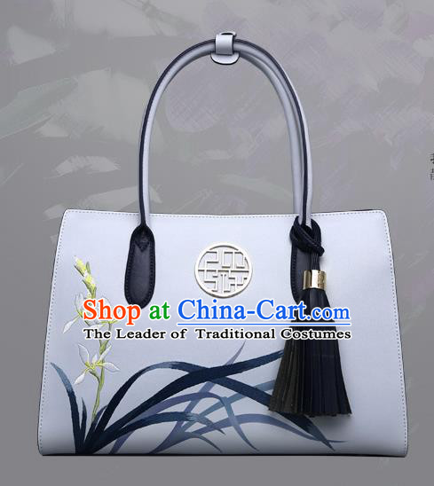 Traditional Handmade Asian Chinese Element Clutch Bags Shoulder Bag National Embroidery Orchid Handbag for Women
