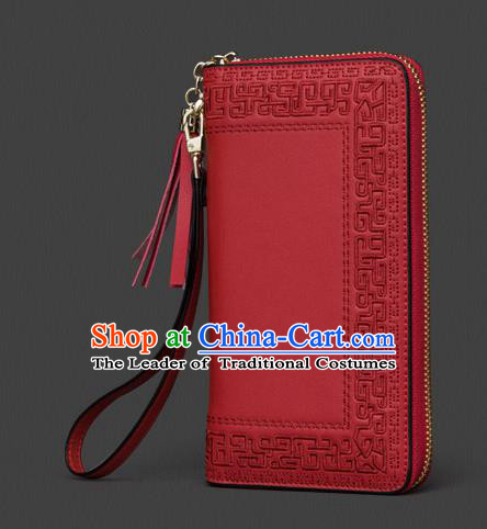 Traditional Handmade Asian Chinese Element Embroidery Wallet National Handbag Red Purse for Women