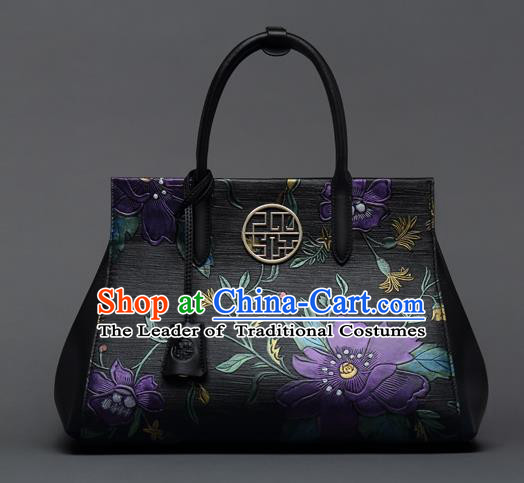 Traditional Handmade Asian Chinese Element Clutch Bags Shoulder Bag National Printing Flowers Handbag for Women