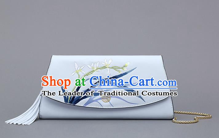 Traditional Handmade Asian Chinese Element Embroidery Orchid Wallet National Handbag Purse for Women