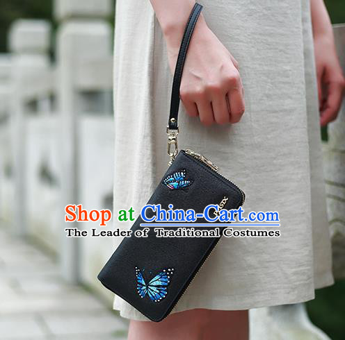 Traditional Handmade Asian Chinese Element Embroidery Butterfly Wallet National Handbag Black Purse for Women