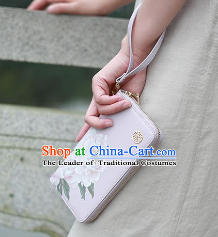 Traditional Handmade Asian Chinese Element Printing Peony Flowers Wallet National Handbag Lilac Purse for Women