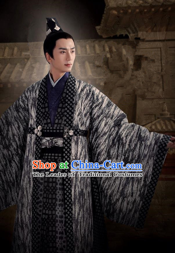 Asian Chinese Traditional Ancient Prince Costume, Lost Love In Times China Northern and Southern Dynasties Nobility Robe Clothing