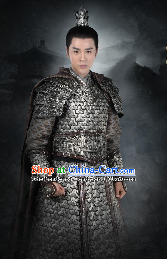 Asian Chinese Traditional Ancient General Prince Corselet Costume, Lost Love In Times China Northern and Southern Dynasties Warrior Soldiers Armour Clothing