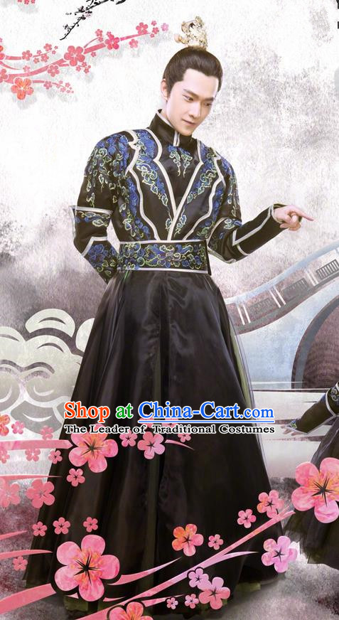 Asian Chinese Traditional Ancient Crown Prince Costume and Headpiece Complete Set, Once Upon a Time China Deities Swordsman Embroidery Robe Clothing