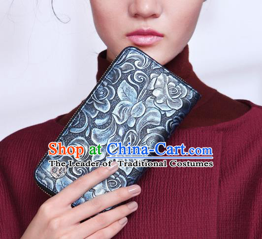 Traditional Handmade Asian Chinese Element Knurling Rose Wallet National Handbag Blue Purse for Women