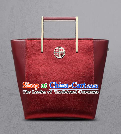 Traditional Handmade Asian Chinese Element Clutch Bags Shoulder Bag National Red Leather Handbag for Women
