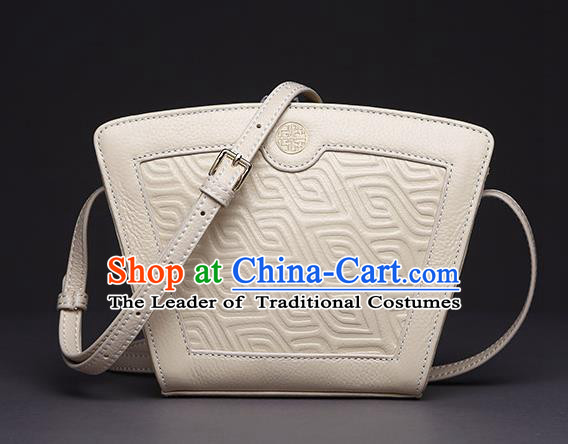 Traditional Handmade Asian Chinese Element Clutch Bags Shoulder Bag Haversack National Knurling White Handbag for Women