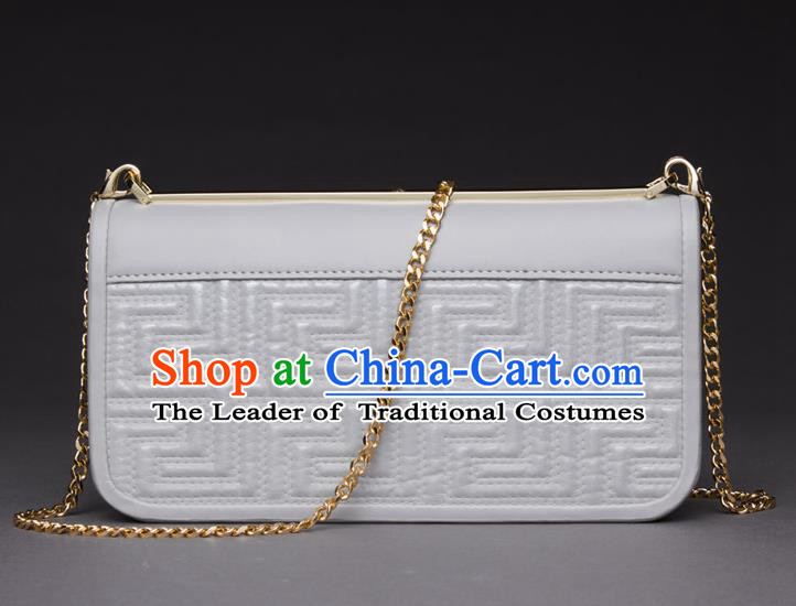 Traditional Handmade Asian Chinese Element Knurling Haversack Wallet National Handbag White Chain Purse for Women