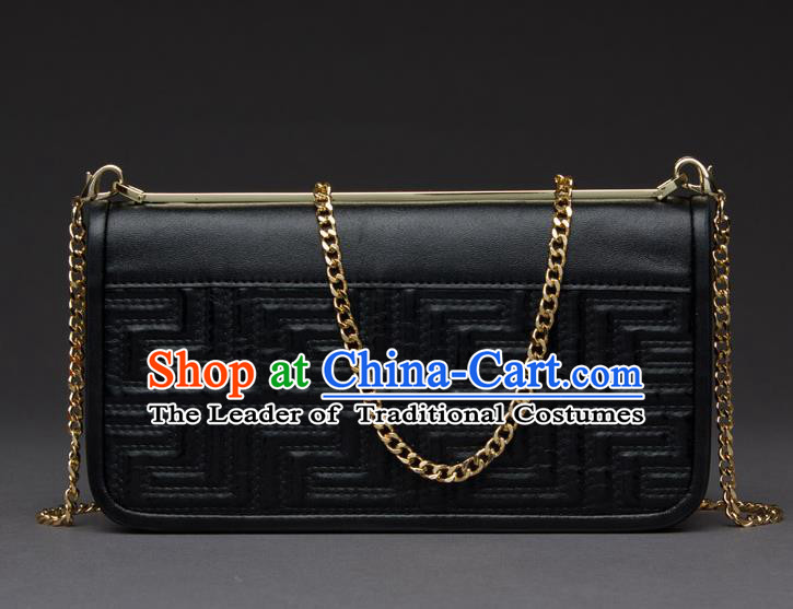 Traditional Handmade Asian Chinese Element Knurling Haversack Wallet National Handbag Black Chain Purse for Women