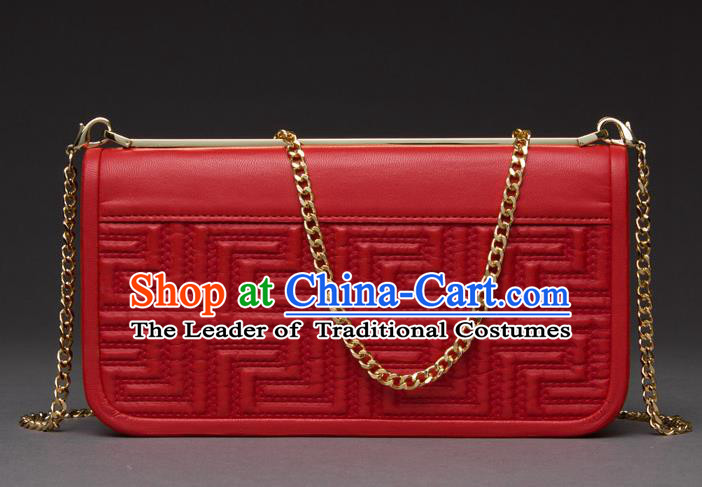 Traditional Handmade Asian Chinese Element Knurling Haversack Wallet National Handbag Red Chain Purse for Women