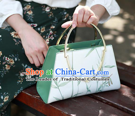 Traditional Handmade Asian Chinese Element Clutch Bags Printing Shoulder Bag National Handbag for Women