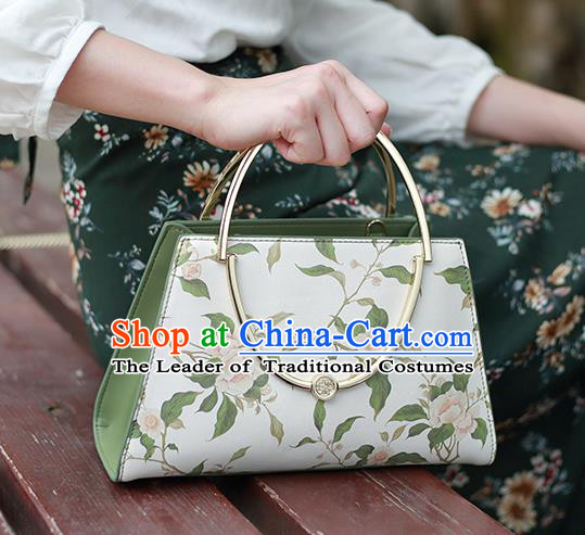 Traditional Handmade Asian Chinese Element Printing Flowers Clutch Bags Shoulder Bag National Leather Handbag for Women