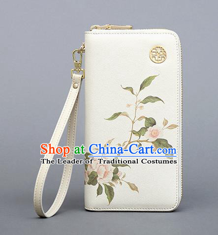 Traditional Handmade Asian Chinese Element Painting Flowers Wallet National Handbag Purse for Women