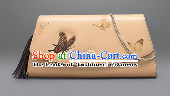 Traditional Handmade Asian Chinese Element Embroidery Butterfly Wallet National Handbag Purse for Women