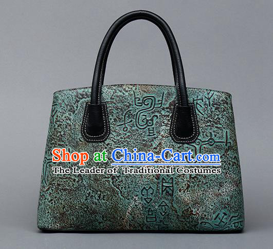 Traditional Handmade Asian Chinese Element Clutch Bags Shoulder Bag National Bronze Pattern Green Handbag for Women