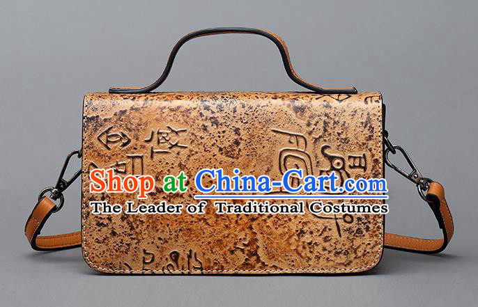 Traditional Handmade Asian Chinese Element Haversack Clutch Bags Shoulder Bag National Bronze Pattern Handbag for Women