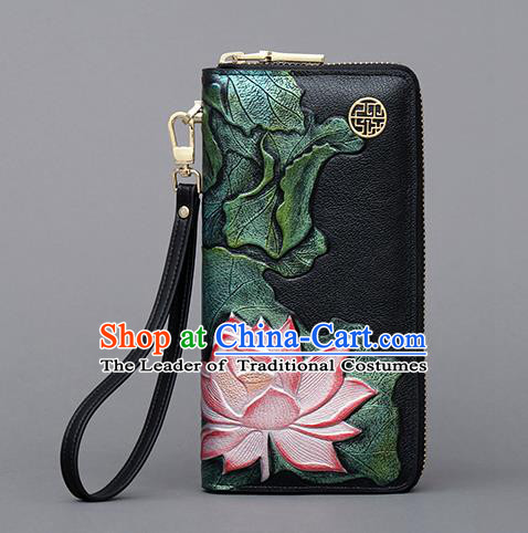 Traditional Handmade Asian Chinese Element Embroidery Lotus Wallet National Handbag Purse for Women