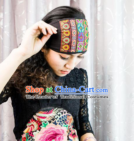 Traditional Handmade Chinese National Embroidery Headwear Miao Nationality Headband for Women