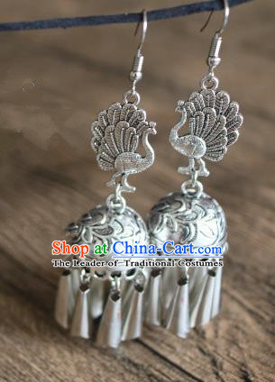 Traditional Handmade Chinese National Miao Nationality Silver Tassel Peacock Earrings for Women