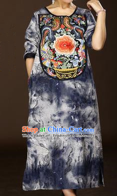 Traditional Chinese National Costume Long Robes, Elegant Hanfu Tang Suit Embroidered Phoenix Peony Dress for Women