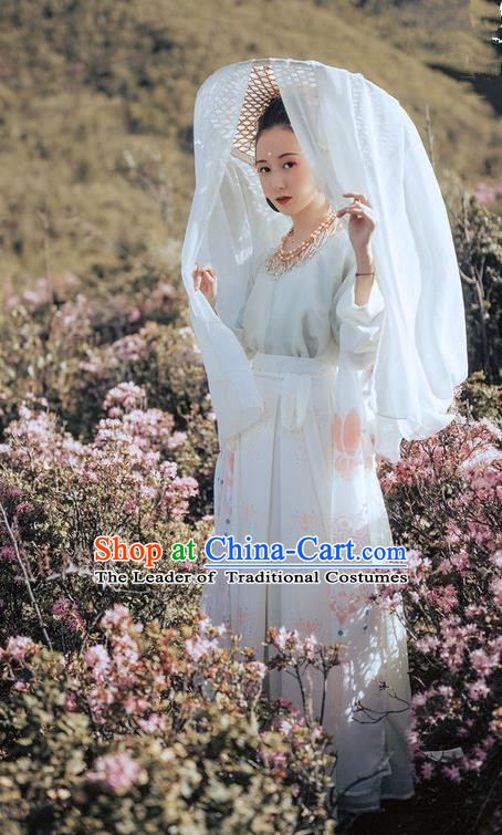 Traditional Ancient Chinese Costume Embroidery Half-Sleeves Blouse and Skirt Complete Set, Elegant Hanfu Clothing Chinese Song Dynasty Imperial Princess Clothing for Women