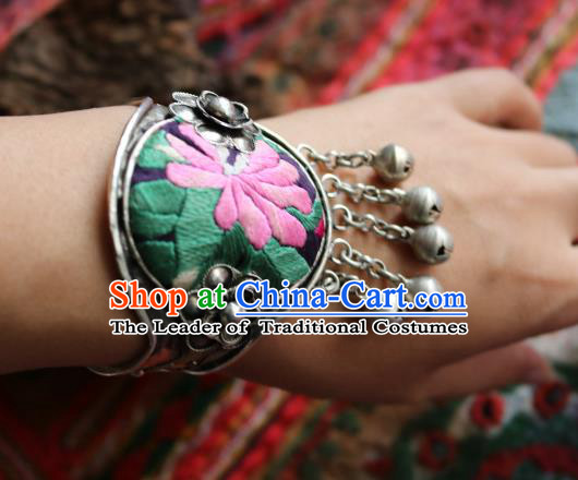 Traditional Handmade Chinese National Miao Nationality Sliver Bracelet Embroidery Bells Tassel Bangle for Women