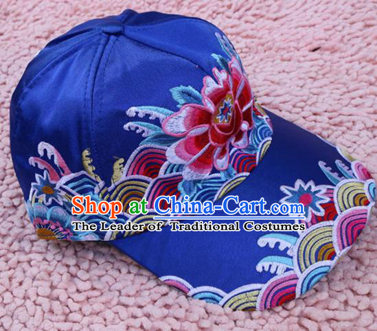 Traditional Handmade Chinese National Embroidery Headwear Miao Nationality Blue Cap for Women