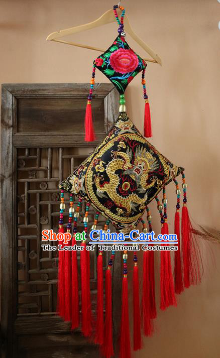 Traditional Handmade Chinese National Article Chinese Knot Embroidery Dragon Miao Nationality Tassel Pendant