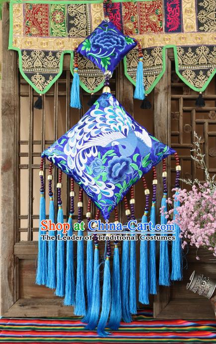 Traditional Handmade Chinese National Pendant Miao Nationality Embroidery Tassel Accessories