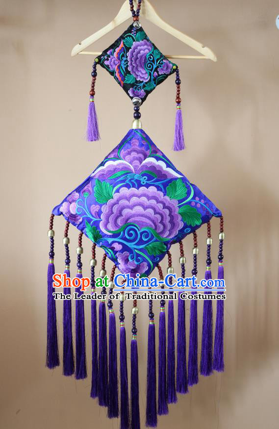 Traditional Handmade Chinese National Pendant Miao Nationality Embroidery Flower Purple Tassel Accessories
