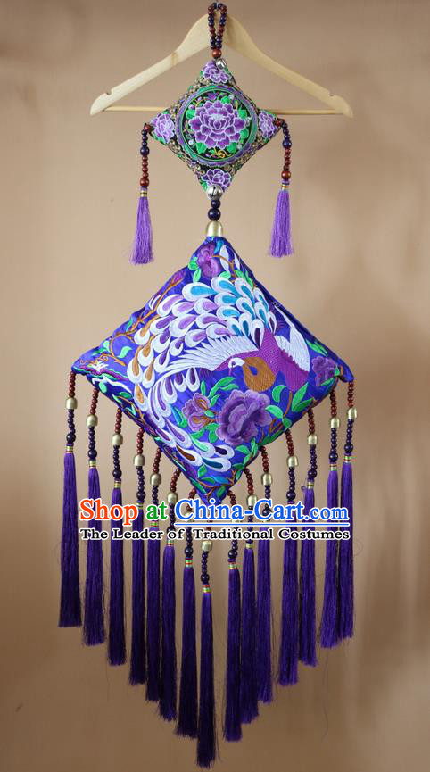 Traditional Handmade Chinese National Pendant Miao Nationality Embroidery Purple Tassel Accessories