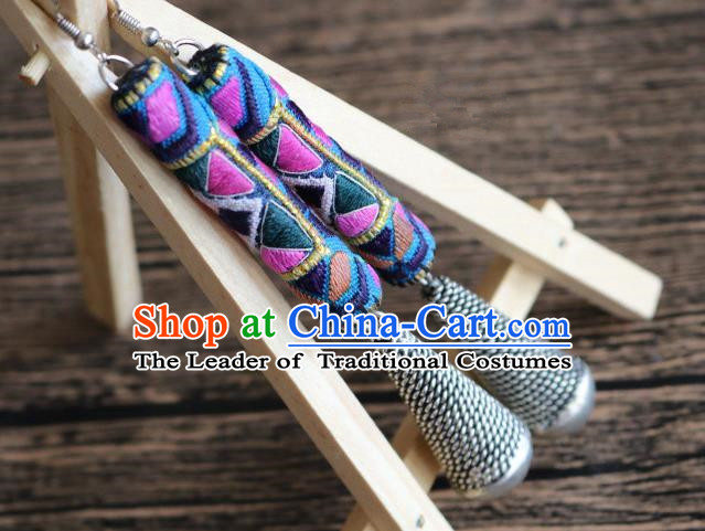 Traditional Handmade Chinese National Miao Nationality Sliver Eardrop Embroidery Earrings for Women