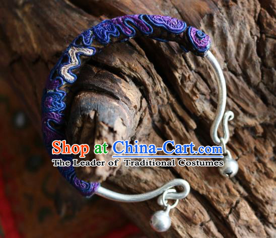 Traditional Handmade Chinese National Miao Nationality Sliver Bracelet Purple Embroidery Bell Bangle for Women