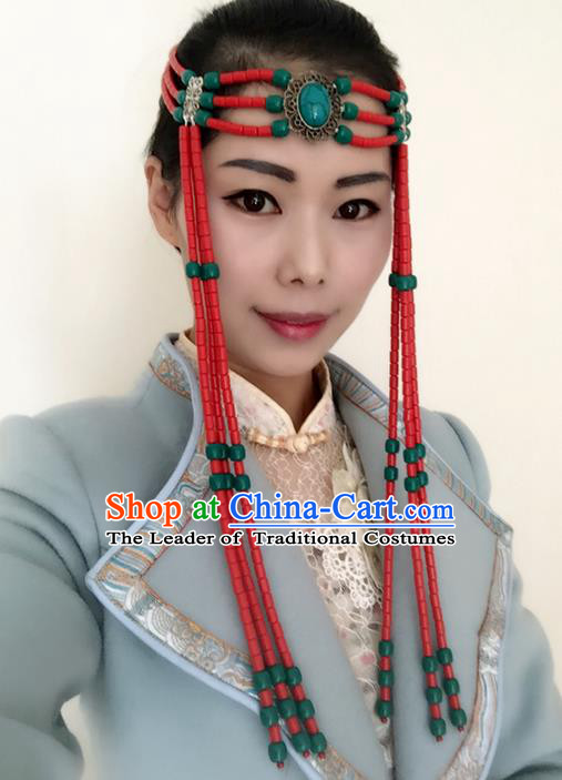 Traditional Handmade Chinese  Mongol Nationality Dance Hair Accessories Headwear, China Mongols Mongolian Minority Nationality Red Beads Tassel Headpiece for Women