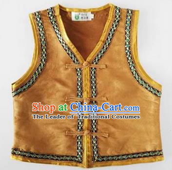 Traditional Chinese Mongol Nationality Dance Costume, Mongols Children Folk Dance Ethnic Vest, Chinese Mongolian Minority Nationality Embroidery Light Tan Waistcoat for Kids