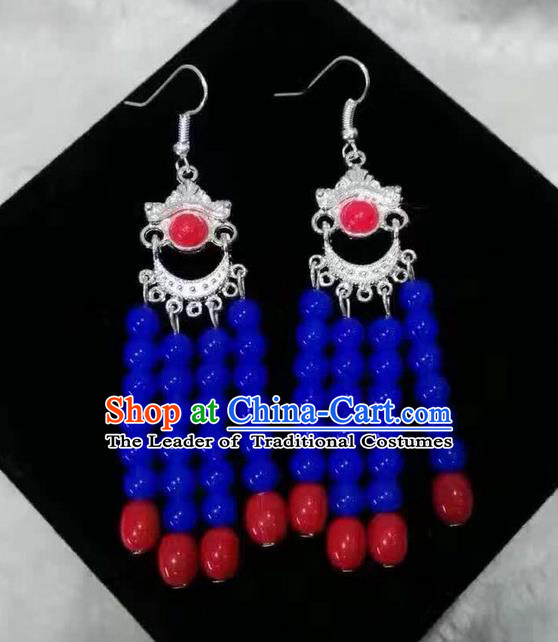 Traditional Handmade Chinese  Mongol Nationality Dance Accessories Earrings, China Mongols Mongolian Minority Nationality Princess Blue Beads Tassel Eardrop for Women