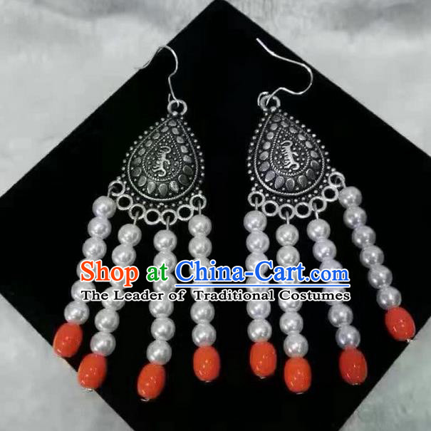 Traditional Handmade Chinese  Mongol Nationality Dance Accessories Earrings, China Mongols Mongolian Minority Nationality Princess White Beads Tassel Eardrop for Women