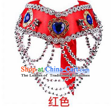 Traditional Handmade Chinese Mongol Nationality Dance Red Hair Accessories Headband, China Mongols Mongolian Minority Nationality Bride Headpiece for Women