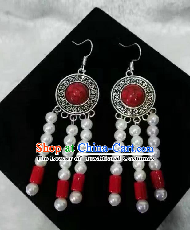 Traditional Handmade Chinese  Mongol Nationality Dance Accessories Red Earrings, China Mongols Mongolian Minority Nationality Princess White Pearls Tassel Eardrop for Women