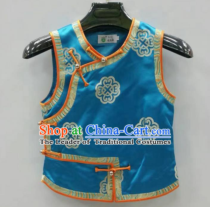 Traditional Chinese Mongol Nationality Prince Dance Costume, Mongols Children Folk Dance Ethnic Vest, Chinese Mongolian Minority Nationality Embroidery Blue Waistcoat for Kids