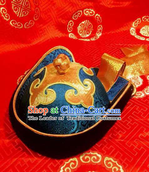Traditional Handmade Chinese Mongol Nationality Dance Prince Hair Accessories Blue Hat, China Mongols Mongolian Minority Nationality Bridegroom Headpiece for Men